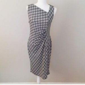 Talbots Black and White Cinched Asymmetrial Dress